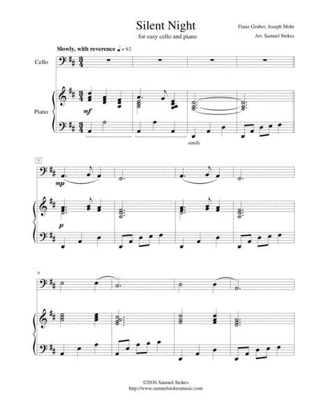Silent Night For Easy Cello Optional Piano Accompaniment  music sheet