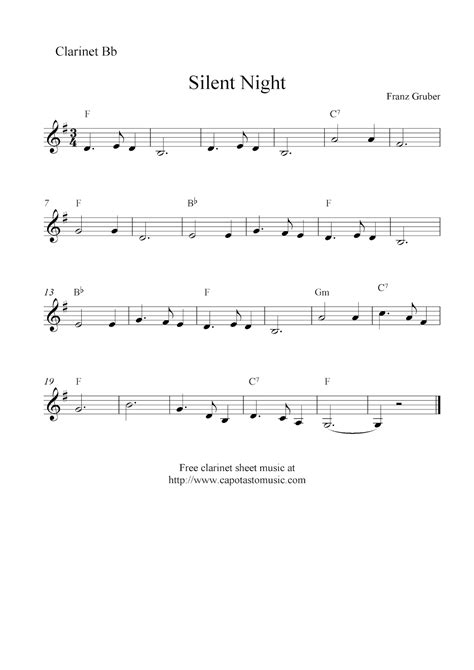 Silent Night For Piano And Clarinet Bb Easy  music sheet