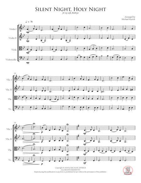 Silent Night Holy Night String Quartet  music sheet