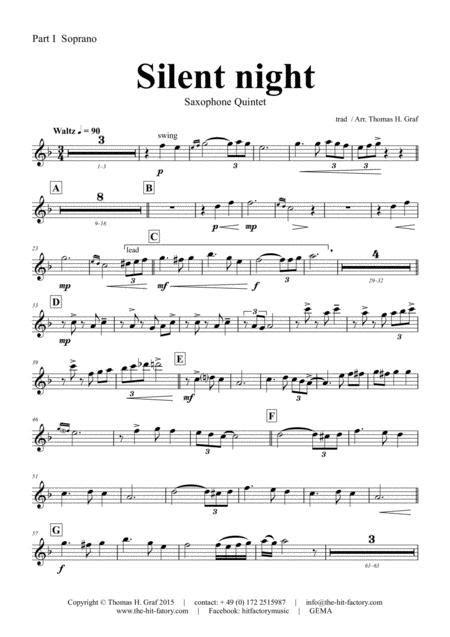 Silent Night Stille Nacht Jazz Waltz Saxophone Quintet  music sheet