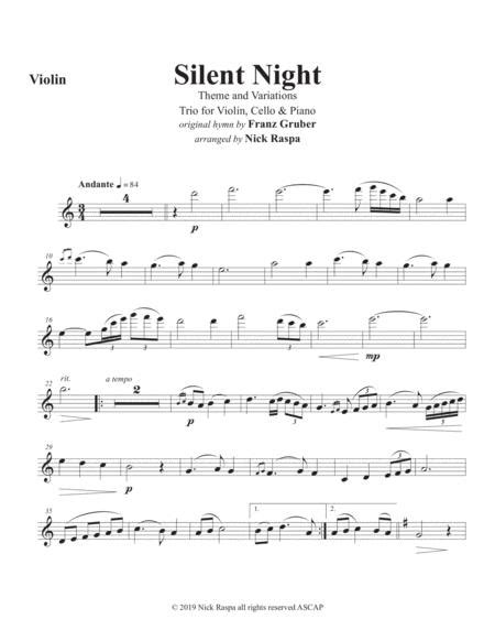 Silent Night Variations Piano Trio Cello Part  music sheet