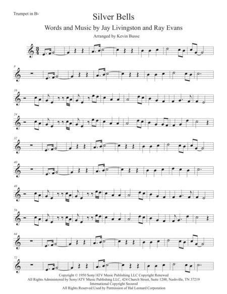 Silver Bells Easy Key Of C Trumpet  music sheet