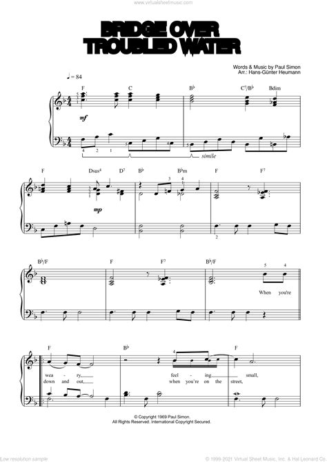 Simon Garfunkel Bridge Over Troubled Water For Trombone Piano  music sheet