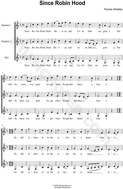 Since Robin Hood  music sheet