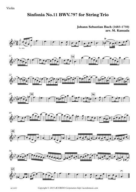 Sinfonia No 11 Bwv 797 For String Trio  music sheet
