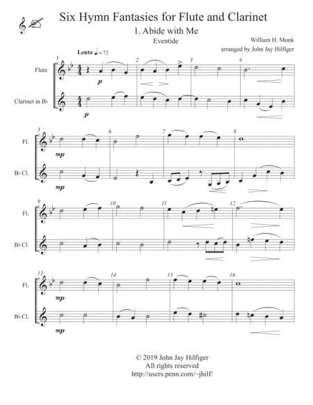 six hymn fantasies for flute and clarinet music sheet