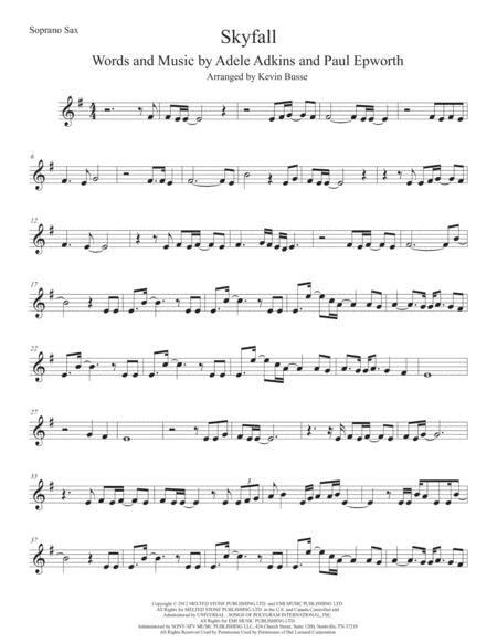 Skyfall Soprano Sax Original Key  music sheet