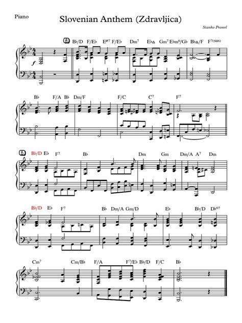 Slovenia National Anthem Zdravljica  music sheet