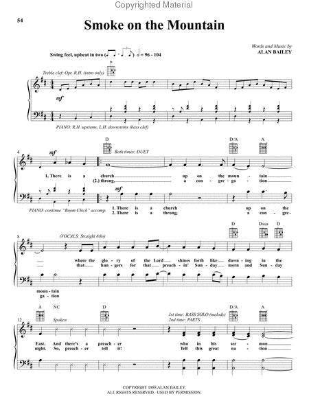 Smoke On The Mountains Piano Solo  music sheet