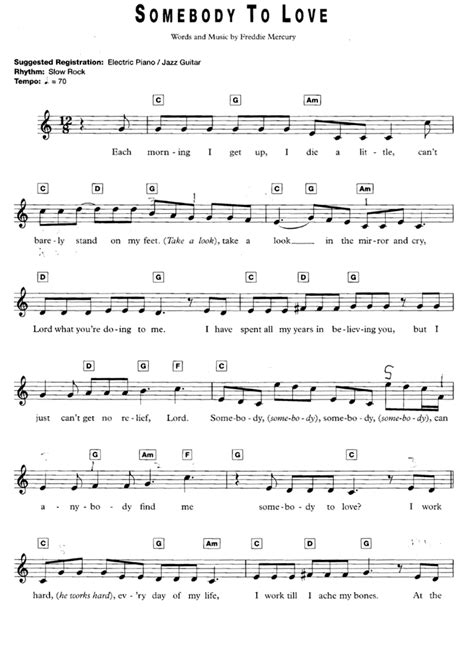 Somebody To Love Easy Piano  music sheet