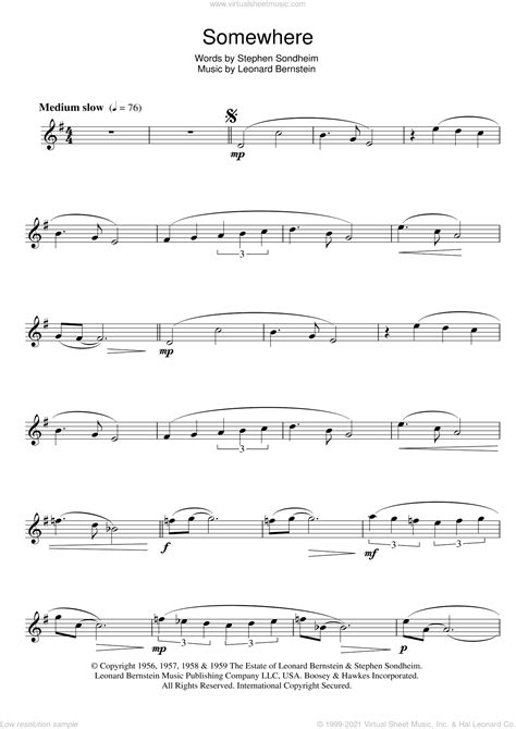 Somewhere From West Side Story For Brass Quartet music sheet
