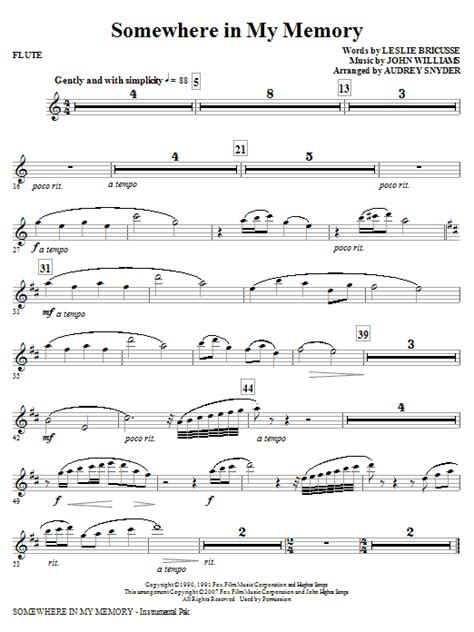 Somewhere In My Memory Arranged For Flute Duet  music sheet
