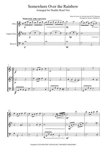 Somewhere Over The Rainbow Arranged For Woodwind Trio  music sheet