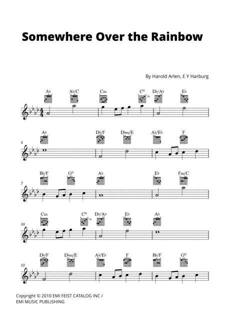 Somewhere Over The Rainbow Lead Sheet W Guitar Chords A Flat Major  music sheet