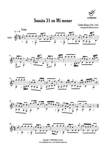 Sonata 31 En Mi Menor  music sheet