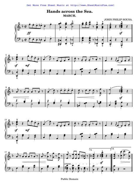 Sousa Hands Across The Sea  music sheet