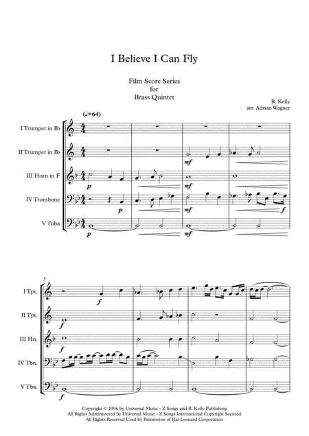 Space Jam I Believe I Can Fly Brass Quintet Arr Adrian Wagner  music sheet