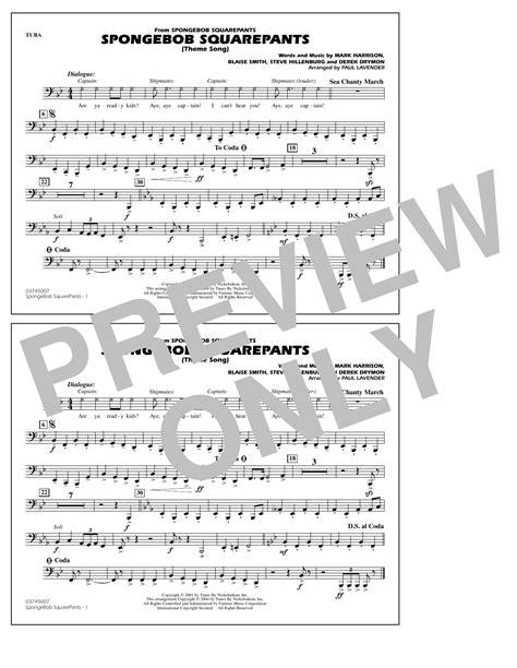 Spongebob Squarepants Theme Song Arr Paul Lavender Tuba  music sheet