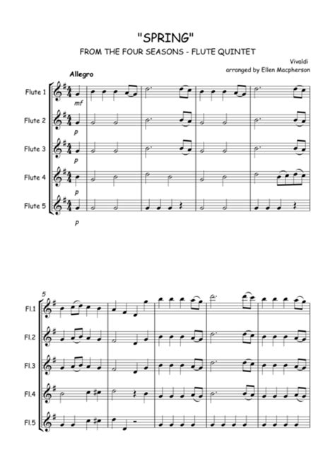 Spring By Vivaldi From The Four Seasons Flute Quintet Score All Parts  music sheet