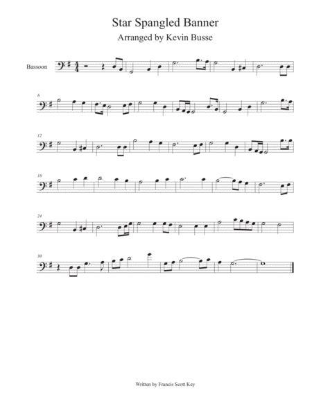 Star Spangled Banner Whitney Houston Version Bassoon  music sheet