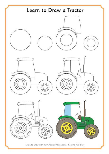 step by step how to draw a tractor Drawing Library