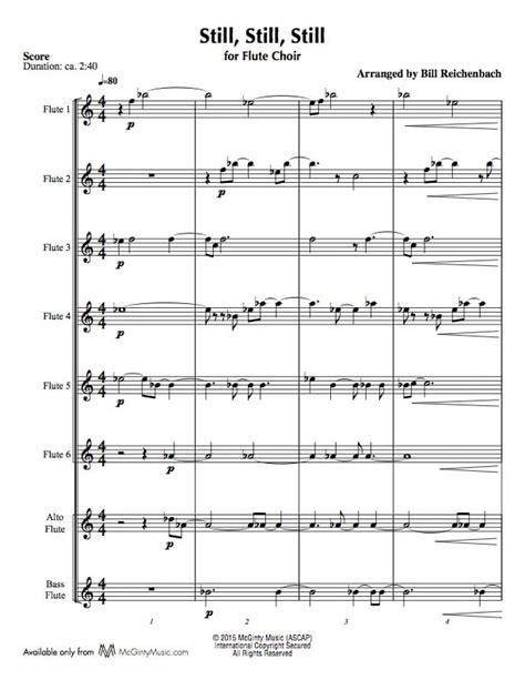 still still still arranged for harp and flute music sheet