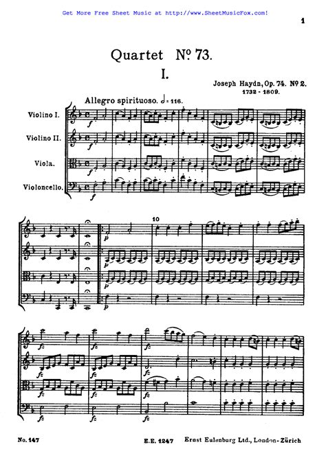 String Quartet No 1 In E Major  music sheet