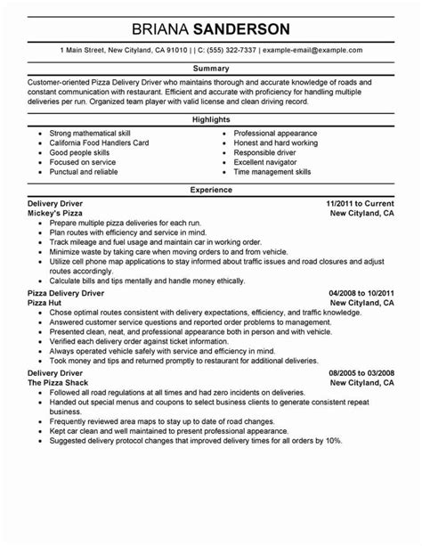 student Delivery driver resume CV template Dayjob