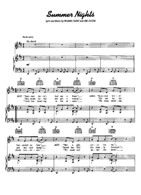 Summer Nights For Piano  music sheet