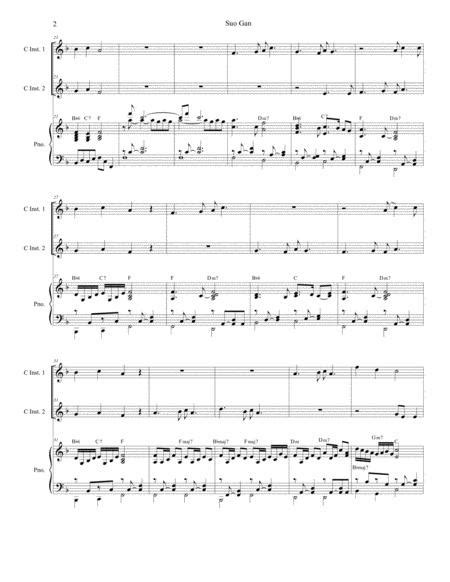 Suo Gan Duet For C Instruments  music sheet