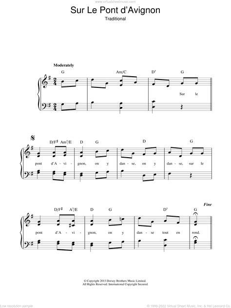 Sur Le Pont D Avignon Easy Piano Solo  music sheet