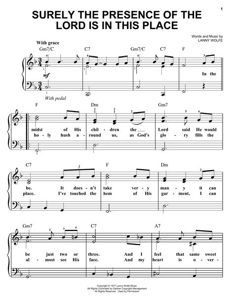 Surely The Presence Of The Lord Is In This Place Duet For C Trumpet  music sheet