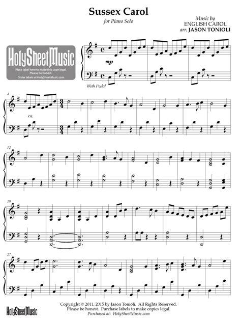 Sussex Carol For Tenor Saxophone Piano  music sheet