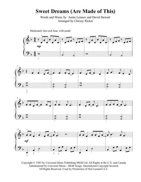 Sweet Dreams Are Made Of This Easy Piano Early Intermediate  music sheet