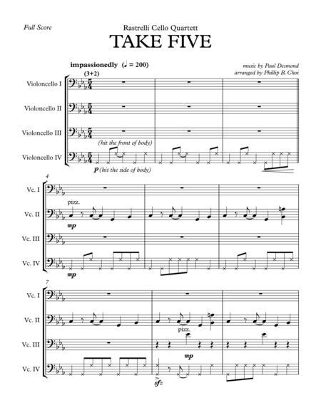 Take Five For Cello Quartet By Rastrelli Cello Quartett  music sheet