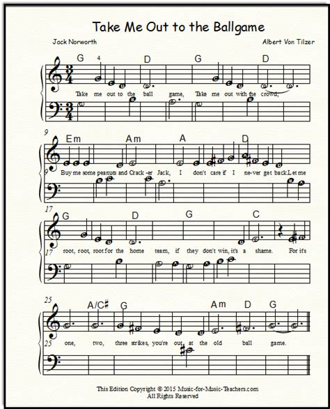 Take Me Out To The Ball Game For Piano Vocal With Optional Guitar Key Of A  music sheet