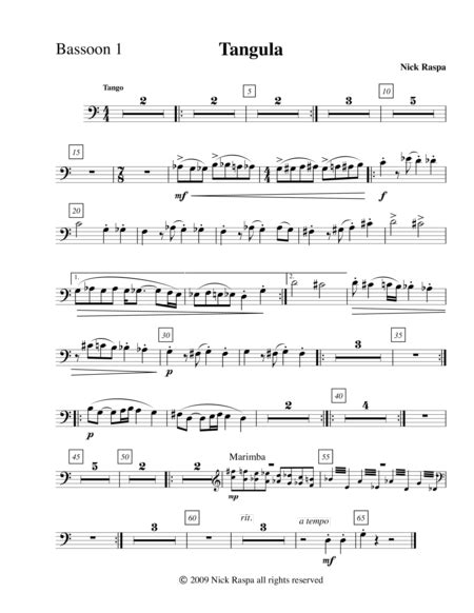 Tangula From Three Dances For Halloween Bassoon 2 Part  music sheet