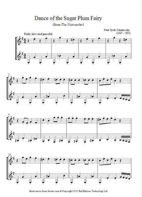 Tchaikovsky Dance Of The Sugar Plum Fairy From Nutcracker Suite For Tenor Sax Piano  music sheet