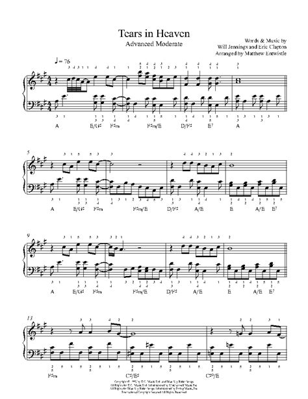 Tears In Heaven Original Key Piano  music sheet