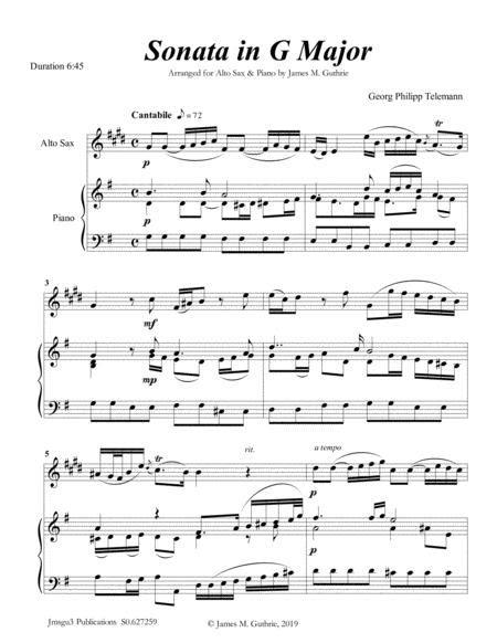 Telemann Sonata In G Major For Alto Sax String Trio  music sheet