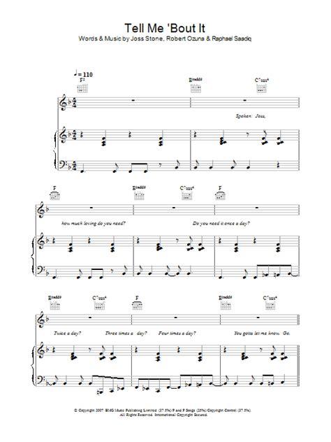 Tell Me Bout It  music sheet