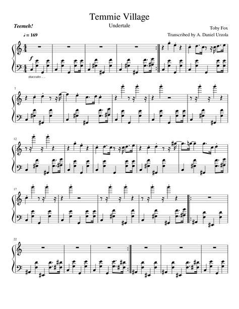 Temmie Village Undertale  music sheet
