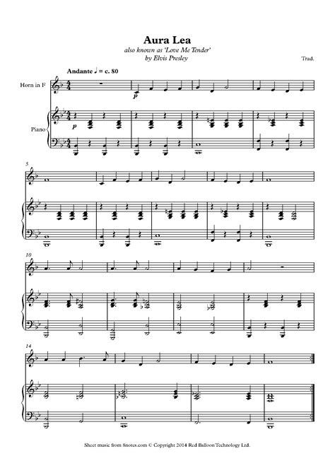 Tender Moments French Horn Piano  music sheet