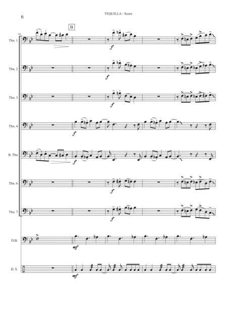 Tequila Trombone Quintet Opt Bass Kit Trb6 Trb7  music sheet