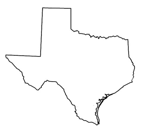 texas coloring pages State of Texas outline map Coloring