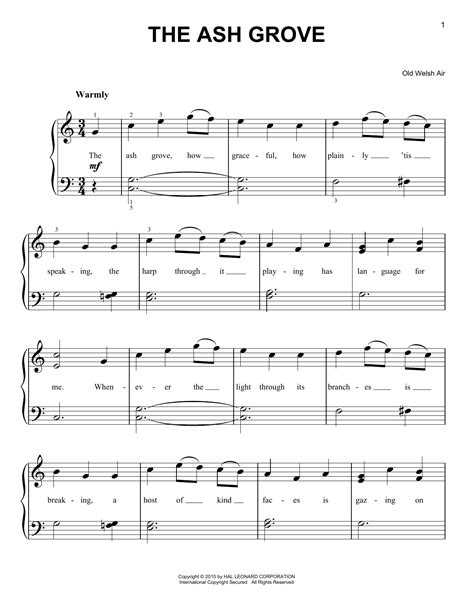 The Ash Grove Arranged For Piano Flute And Violin  music sheet
