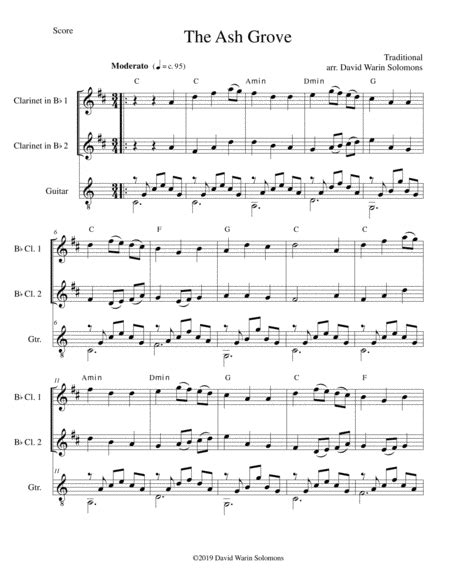 The Ash Grove Llwyn Onn For 2 Clarinets And Guitar  music sheet