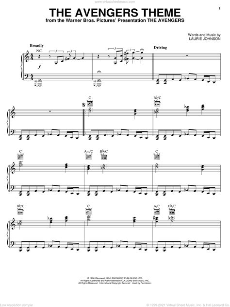 The Avengers Main Theme  music sheet