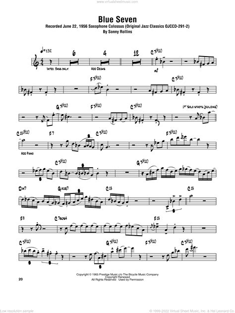 the blue room for tenor saxophone solo and piano accompaniment music sheet