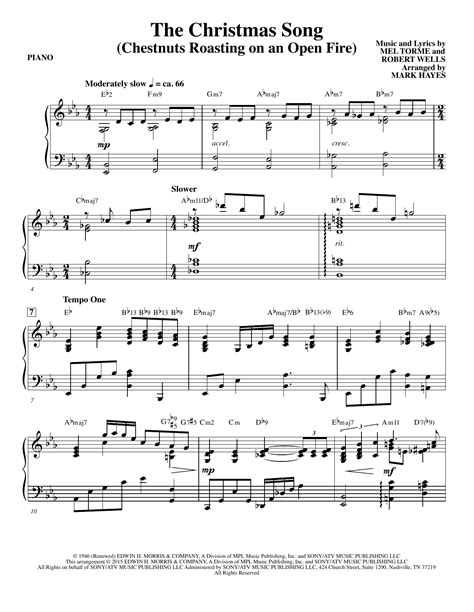 The Christmas Song Chestnuts Roasting On An Open Fire Solo Piano  music sheet